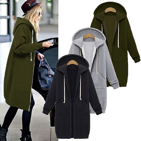 Hoodie Sweatshirt Solid Loose Zipper Plus Size Thick Hoodies Jacket Long Black Coat - 88digital