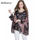 Women Blouse Shirt Plus Size 4XL 5XL 6XL Batwing Sleeve Chiffon Tops  Floral Print Casual Summer Blouses - 88digital