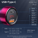 Baseus Dual Usb Car Charger QC 3.0 4.0 Quick Charger Mobile Phone Charger for iphone Samsung Huawei Metal Car Charging PD 3.0 - 88digital