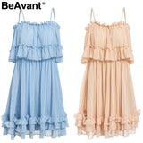 Off shoulder strap chiffon summer dresses Women ruffle pleated short dress pink Elegant holiday loose beach mini dress - 88digital