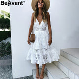 v neck sexy lace summer dress women Strap button casual white dress female Streetwear backless midi dress vestidos 2018 - 88digital