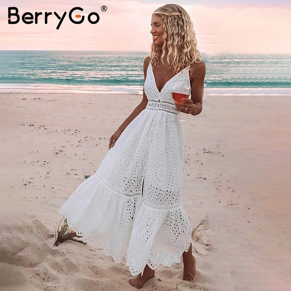White pearls sexy women summer dress Hollow out embroidery maxi cotton dresses Evening party long ladies - 88digital