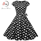 Black White Polka Dot Vintage Dress  Summer Women Floral Print Short Sleeve Retro Robe Rockabilly Dresses Party - 88digital