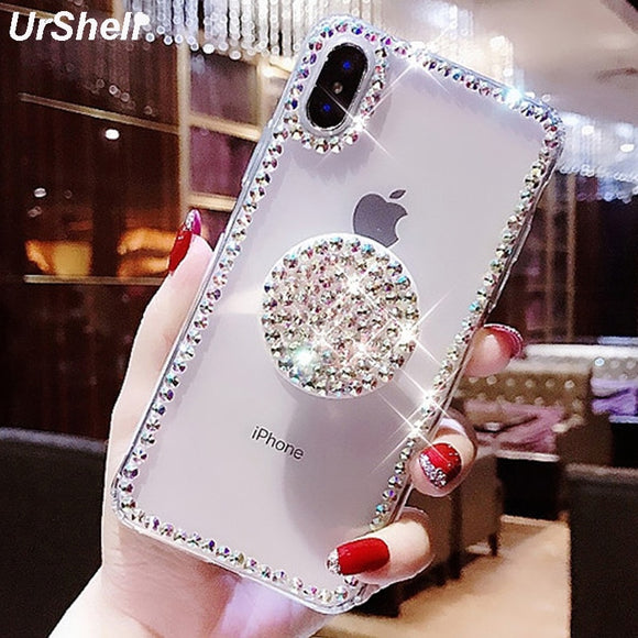 Bling Clear Phone Case For iphone 11 Pro Max Thin Slim Transparent Diamond Stand Holder Cases - 88digital