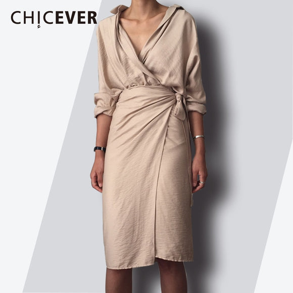 CHICEVER 2019 Spring Fashion Women Dress Sexy V Neck Slim Hem Split Casual Temperament Bandage Dresses Female Clothes New - 88digital