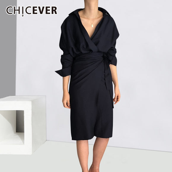 CHICEVER Bow Bandage Dresses For Women V Neck Long Sleeve High Waist Women's Dress Female Elegant Fashion Clothing New 2019 - 88digital