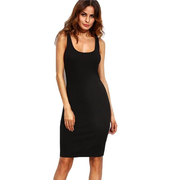 COLROVIE Black Ladies Summer Style Fitness Women Sexy Bodycon Knee Length Dresses Casual New Sleeveless Dress - 88digital