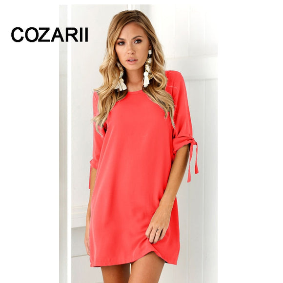 Summer Dress Women's Short Sleeve Casual O-Neck Loose Dress Solid color dress Beach Dresses Plus Size Vestidos - 88digital
