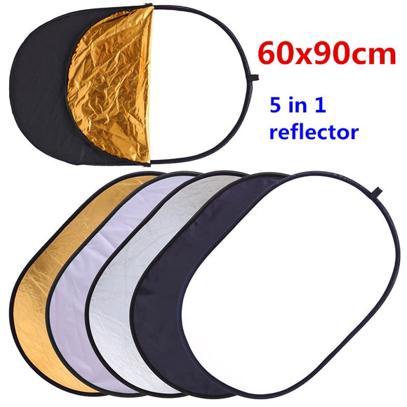CY 60x90cm 24''x35'' 5 in 1 Multi Disc Photography Studio Photo Oval Collapsible Light Reflector handhold portable photo disc - 88digital