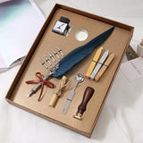 Calligraphy Feather Dip Pen Writing Ink Set Stationery Gift Box with 5 Nib Wedding Gift Quill Pen Fountain Pen - 88digital