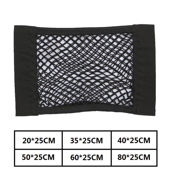 Car Back Rear Trunk Seat Storage Bag Mesh Auto Organizer double-deck Elastic String Net Magic Sticker Pocket Bag Car Accessories - 88digital