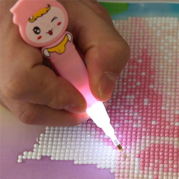 LED Pen with Light Cross Kit Pen Stitch Embroidery Drill Painting Tools Glue Plastic Tray Set - 88digital