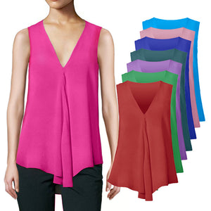 Chiffon Tank Tops Women Tunic Summer V Neck Vest Tops Sleeveless Criss-Cross Loose Solid Ladies Shirts Plus Size 5XL Cheap Sale - 88digital