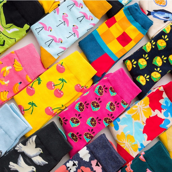 Colour Crew Cotton Happy Socks Men Women British Style Casual Harajuku Designer Brand Fashion Novelty Art For Couple Fun - 88digital