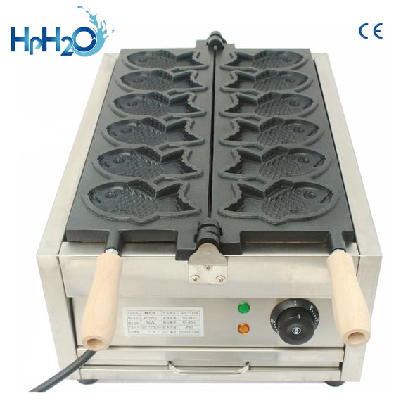 Commercial 6 pcs fish shape Taiyaki machine/commercial mini taiyaki Making Machine / Korean taiyaki waffle maker machine 110V/220V - 88digital