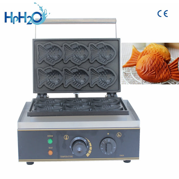 Commercial Non-stick 6 pcs taiyaki machine fish waffle maker fish shaped waffle iron cake making machine - 88digital