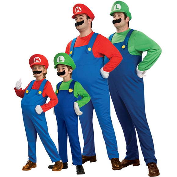 Cosplay Adults and Kids Super Mario Bros Cosplay Dance Costume Set Children Halloween Party MARIO & LUIGI Costume for Kids Gifts - 88digital
