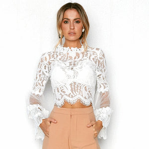 DeRuiLaDy Sexy Hollow Out White Lace Blouse Shirt Women Elegant Flare Sleeve Summer Blouses Female Casual Long Sleeve Tops Blusa - 88digital