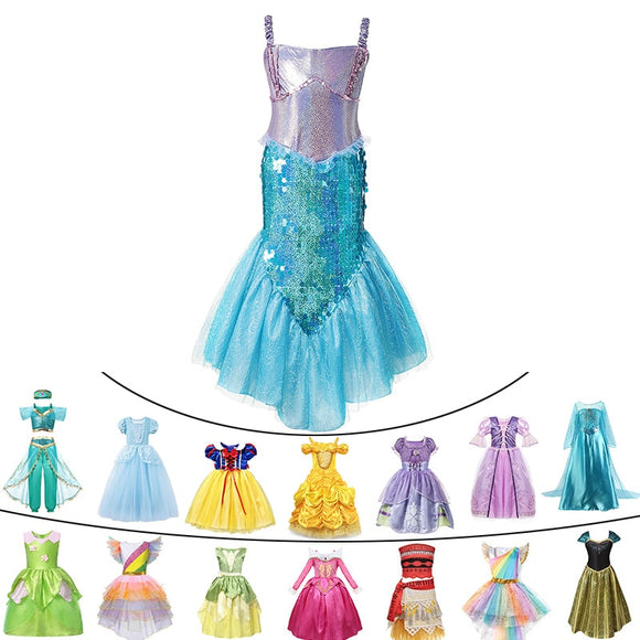 Deluxe Baby Girls Summer Princess Mermaid Cinderella Dress Tinkerbell Jasmine Halloween Elsa Cosplay Costume Child Unicorn Party - 88digital