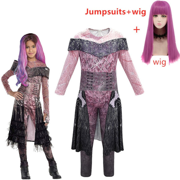 Descendants 2 Mal Bertha Maleficent Long Live Evil Straight Purple kids adult Cosplay Wig + Jumpsuits halloween costume for kids - 88digital