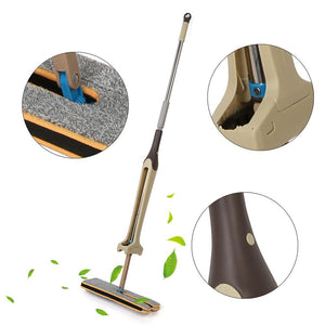 Double Sided Flat Cleaning Mop Self-Wringing Wooden Floor Mop Dust Push Mop Tool for Living Room Kitchen - 88digital