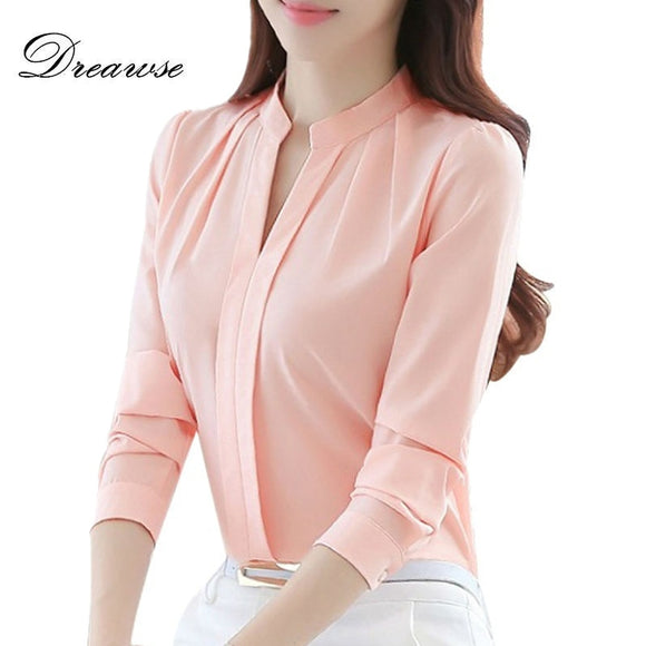Dreawse Spring Autumn Women Tops Long Sleeve Casual Chiffon Blouse Female V-Neck Work Wear Solid Color White Office Shirts 2550 - 88digital