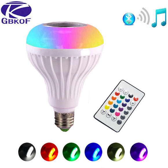 Smart RGB RGBW Wireless Bluetooth Speaker Bulb Music Playing Dimmable LED Bulb Light Lamp with 24 Keys Remote Controller - 88digital