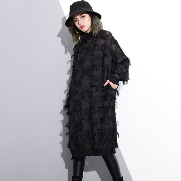 Autumn Winter Stand Collar Long Sleeve Perspective Black Loose Tassels Big Size Dress Women Fashion Tide - 88digital