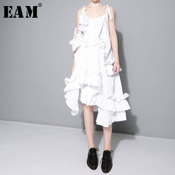 Irregular Multilayer Ruffles Solid Color Loose Fashion Sexy White Dress Women - 88digital