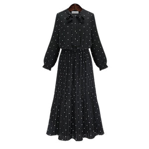 Round Neck Long Sleeve Solid Black Chiffon Dot Loose Big Size Dress Women Fashion Tide - 88digital
