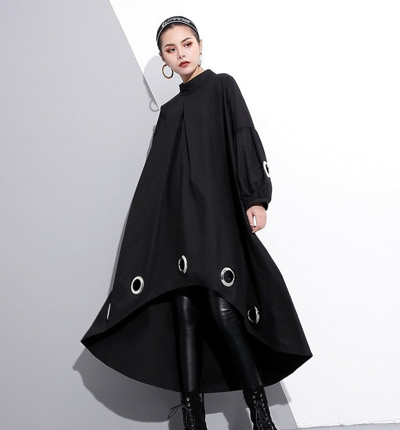 Spring  Round Neck Long Sleeve Solid Color Black Metal Ring Big Size Hollow Out Dress Women Fashion Tide - 88digital