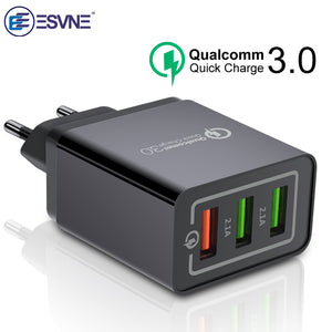 ESVNE 3 Port USB Wall Charger quick charge 3.0 4.0 qc 2.0 for iPhone Fast Charging Samsung Xiaomi Mobile Phone Charger adapter - 88digital