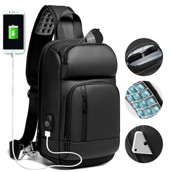 Black Chest Packs Men USB Charging Casual Shoulder Crossbody Bags Water Repellent Travel Messenger Bag Male - 88digital