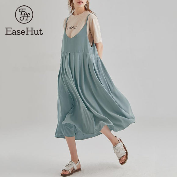 EaseHut 5XL Large Size Sleeveless Spaghetti Strap Dress V-neck Mid Calf Cotton Dress Loose Casual Summer Dresses and Sundresses - 88digital