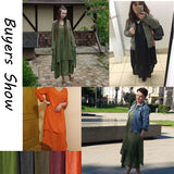 Vintage Women Casual Loose Dress Solid Long Sleeve Boho Ethnic Autumn Long Maxi Dresses Plus Size Retro - 88digital
