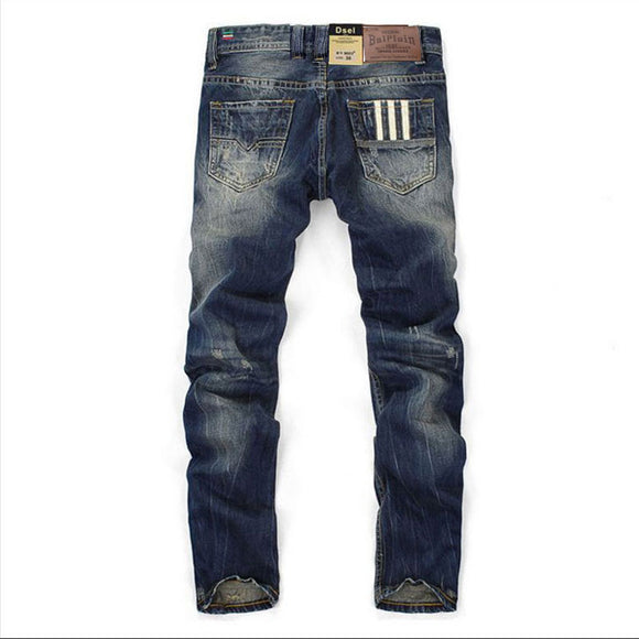 Famous Balplein Brand Fashion Designer Jeans Men Straight Dark Blue Color Printed Mens Jeans Ripped Jeans,100% Cotton - 88digital
