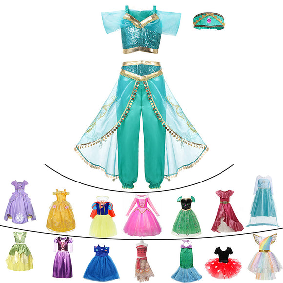 Fancy Baby Girl Princess Clothes Kid Jasmine Rapunzel Aurora Belle Ariel Cosplay Costume Child Elsa Anna Elena Sofia Party Dress - 88digital