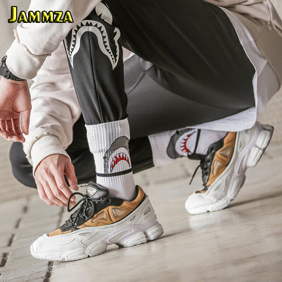 Fashion Shark Hip Hop Socks Men and Women Long Cartoon Socks Hiphop Street Sport Skateboard black white Crew Socks - 88digital