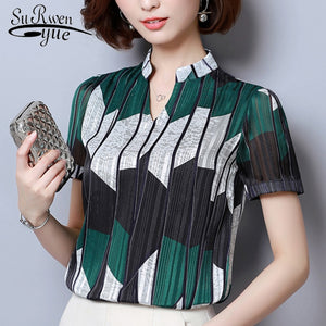 Fashion woman blouses 2019 Short Sleeve summer tops print striped Chiffon Blouse shirt plus size womens tops and blouses 2065 50 - 88digital
