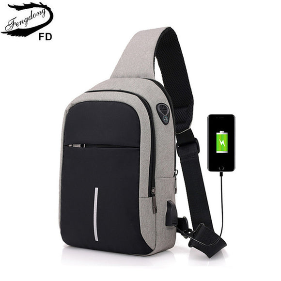 Small usb charge one shoulder bag men messenger bags male waterproof sling chest bag  bagpack cross body bags - 88digital