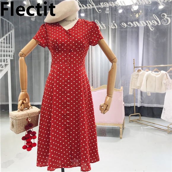 Flectit Vintage 80s Dress French Style Polka Dot Button Up Midi Dress Short Puff Sleeve High Waisted Retro Holiday Dress Women - 88digital