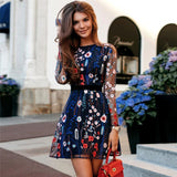Floral Embroidery Women Summer Dress 2019 Boho Holiday Long Sleeve Sheer Mesh See Through Sexy Casual Short Vestidos Mujer - 88digital