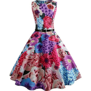 Floral Print Summer Dress Women  Vintage Elegant Swing Rockabilly Party Dresses Plus Size Casual Midi Tunic Runway Dress - 88digital