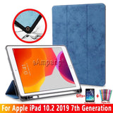 2019 Apple iPad 10.2 7th Generation A2200 A2198 A2232 Shockproof Smart Cover Case Pencil Holder - 88digital