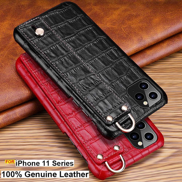 iphone 11 pro max Luxury Genuine Leather Crocodile print bracket case cover wrist hand case - 88digital