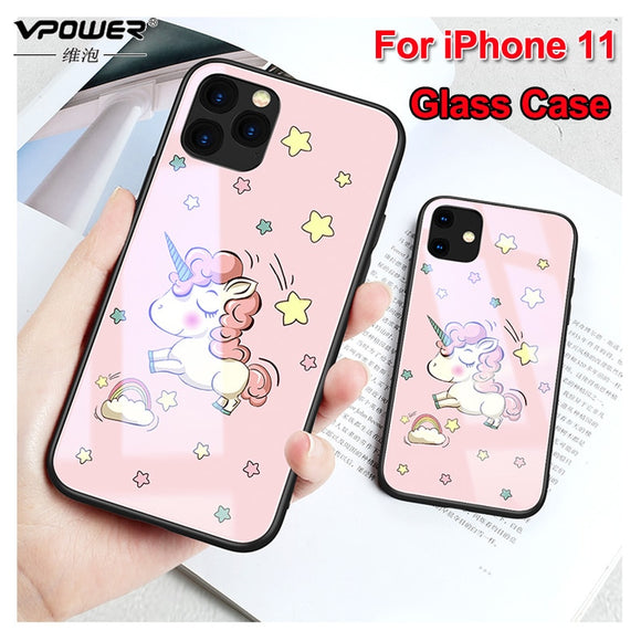 For iphone 11 pro max 6.5 6.1 case Tempered Glass Phone protection animal cute smile phone cases for iphone 11 pro glass cover - 88digital