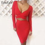 Forefair Sexy V Neck Midi Bodycon Dresses Women Autumn Winter 2018 Red Black Long Sleeve Night Club Wear Party Bandage Dress - 88digital