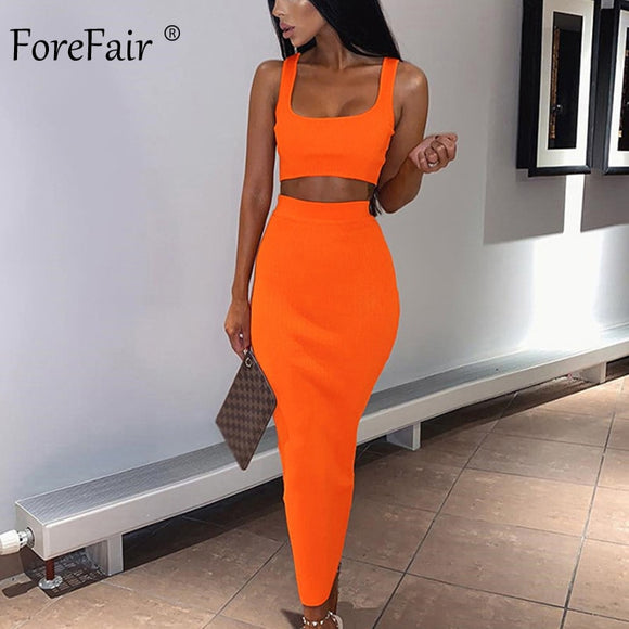 Forefair Two Piece Dress Women Summer Set Neon Pink Green Orange Off Shoulder 2 PCS Party Club Ribbed Knitted Sexy Midi Dress - 88digital