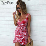 Forefair women casual Plaid Dress vintage ruffle backless wrap Sexy Dresses Sleeveless v neck tie waist Mini Summer dress 2019 - 88digital