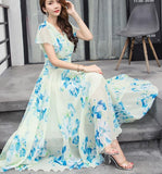 Free Shipping  Bohemian Style S-5XL 2018 Summer New Arrival Collect Waist Flare Sleeve Flower Printed Woman Chiffon Long Dress - 88digital